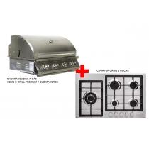 churrasqueira a gás home e grill premium 4 queimadores + cooktop 5 bocas orbis ECONOMIZE R$ 2.029,00