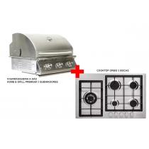 churrasqueira a gás home e grill premium 3 queimadores + cooktop 5 bocas orbis ECONOMIZE R$ 1.629,00